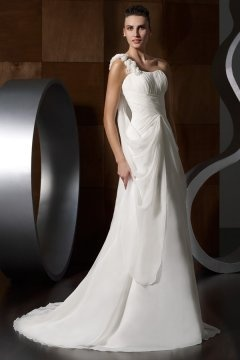 East Ham Chic Chiffon One Shoulder Beading Applique Wedding Dress