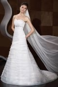 A-line High Waist Beaded Tiered Court Train Wedding Dress