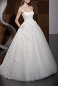 A-line Strapless Sweetheart High Waist Applique Wedding Dress