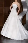 A-line Strapless Beaded Cathedral Train Wedding Dress