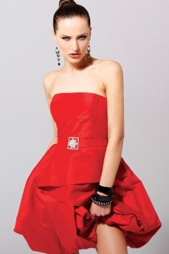 Crewkerne Divine Red Taffeta Strapless Bubble Short Cocktail Dress