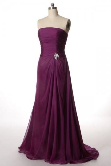 A Linie trägerloses Perlen verziertes Chiffon Abendkleid Persunshop