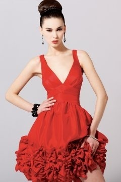 Sexy Taffeta V neck Flower Hemline Short Red Cocktail Dress
