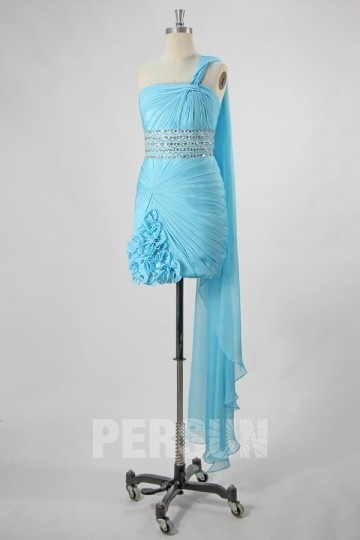 Sexy Kurzes Ein Schulter gefaltetes Cocktailkleid mit Perlen verziert Persun