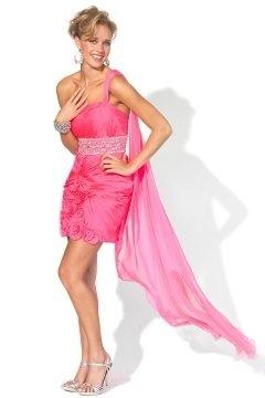 One Shoulder Draping Sheath Chiffon Pink Cocktail Dress UK
