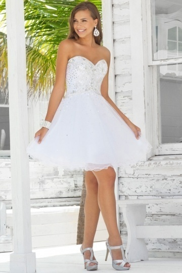 Tulle White Short Prom Dresses