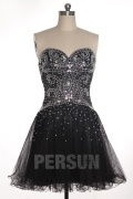 Beading Sweetheart Strapless Tulle A line Formal Cocktail Dress
