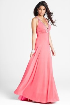 V neck Halter Criss Cross Back Long Pink Prom Dress UK