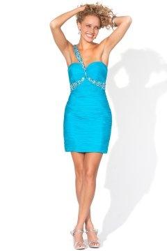 Sheath One Shoulder Short Blue Cheap Cocktail Dress UK