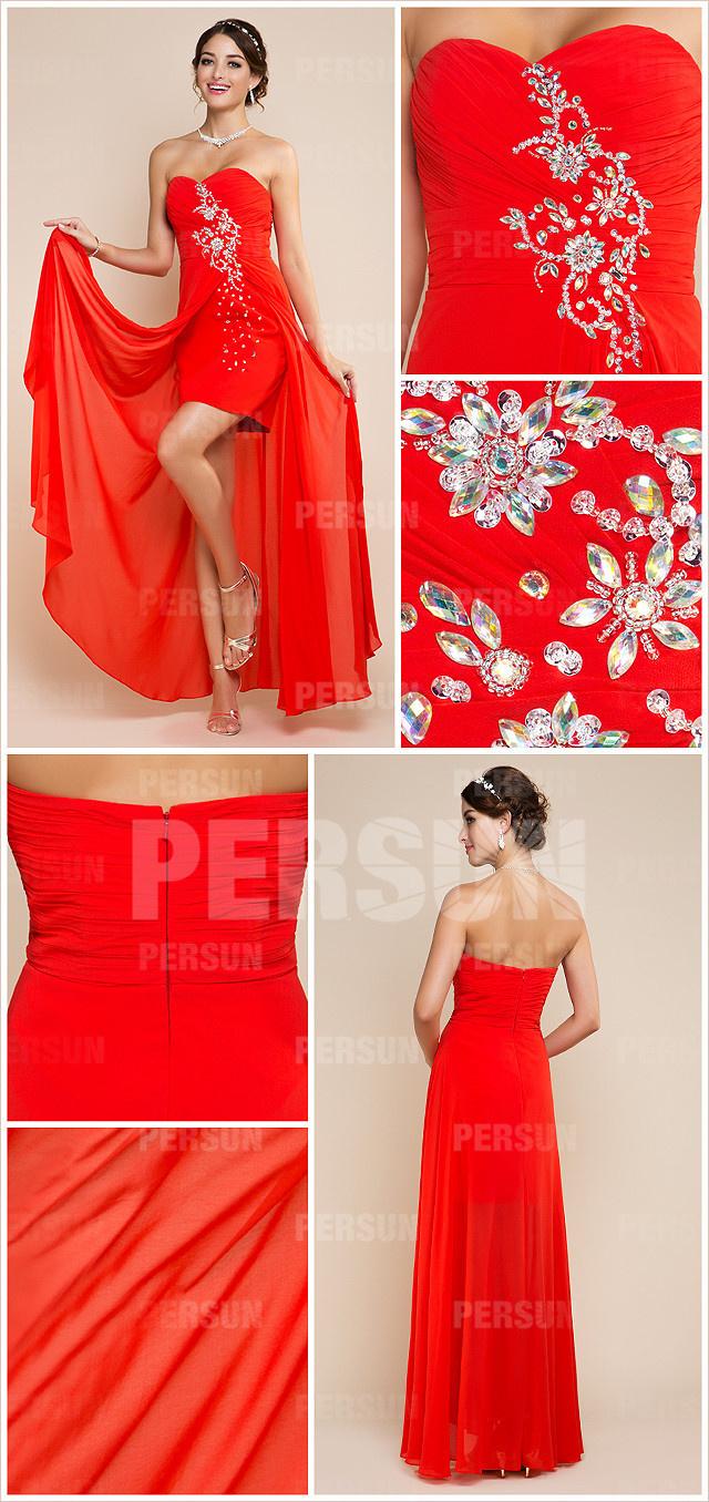 asymmetric orange strapless sweetheart beaded chiffon formal dress details