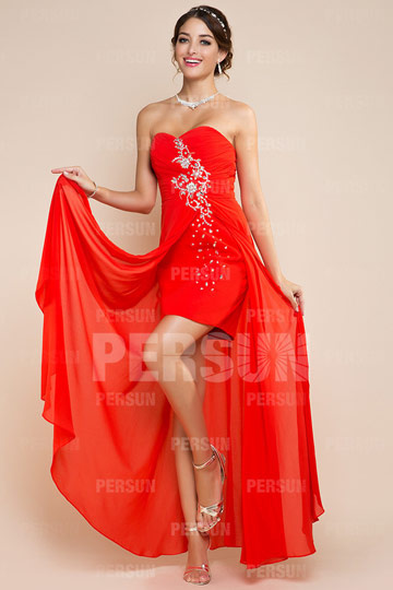 Dressesmall Strapless Sweetheart Beaded Asymmetric Chiffon Formal Dress
