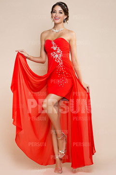 Fordingbridge Strapless Asymmetric Red Prom Gown