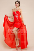 Strapless Sweetheart Beaded Asymmetric Chiffon Prom / Evening Dress