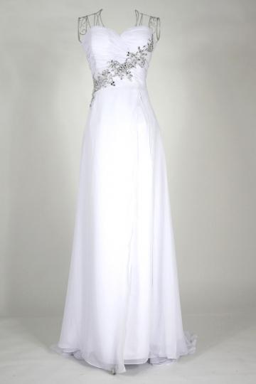 Sweetheart Strapless Beading Column Chiffon Prom Dress