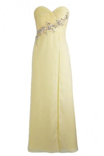 Trägerloses Herz Ausschnitt Chiffon Abendkleid mit Perlen verziert Persun