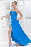 Beaded Slit One Shoulder Sheath Jersey Prom Dress