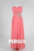 Ruched Split Front Sweetheart Chiffon A line Evening Dress