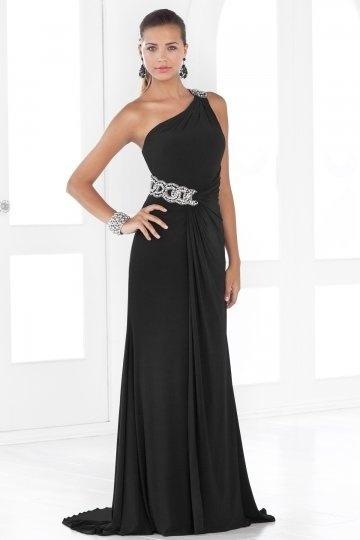 Ein Schulter schwarzes bodenlanges Ballkleid / Abendkleid mit Perlen verziert Persunshop