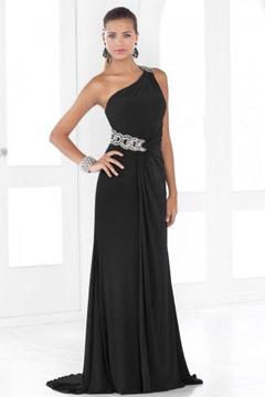 Gillingham Jersey One Shoulder Beaded Belt Floor length Evening Gown