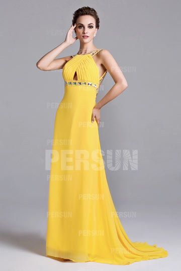 Beaded Open Back A-line Sleek Chiffon Prom Dress