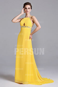 Glastonbury Sleek Open Back Yellow UK Prom Dress