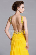 Sleek Open Back Beaded Straps Chiffon A line Formal Dress