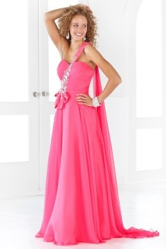 Gosport One Shoulder Watteau Fuchsia UK Prom Dress