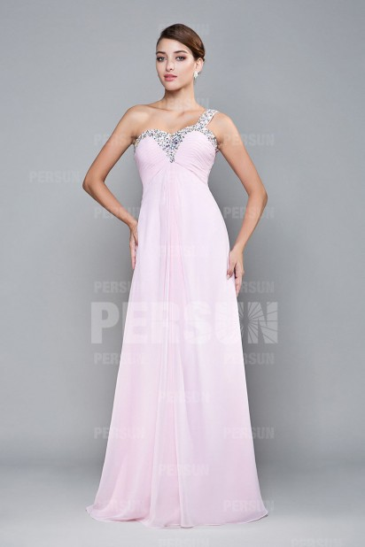 A line Sweetheart One Shoulder Beaded Ruched Prom / Evening Dress