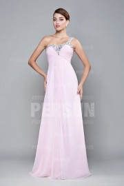 One Shoulder Sweetheart Beaded A-line Chiffon Prom Dress