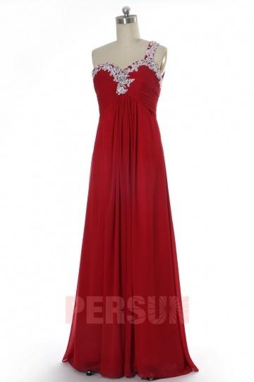Chic klassisch mit 1-Schulter empire bodenlang rot Abendkleid Persun