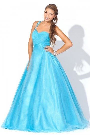 Gravesend Sparkle Tulle One Shoulder Cut Out Back A line Prom Dress