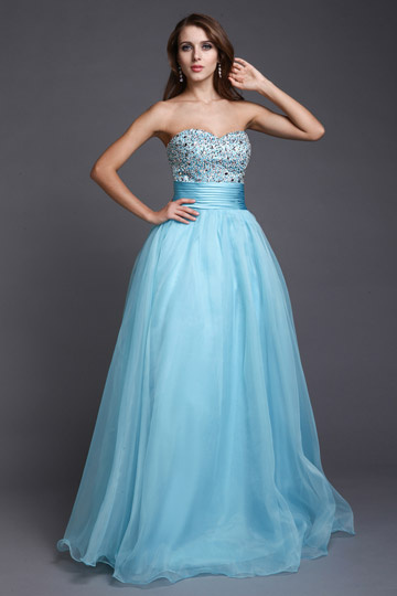 A-line Strapless Sweetheart Beaded Tulle Ball Gown