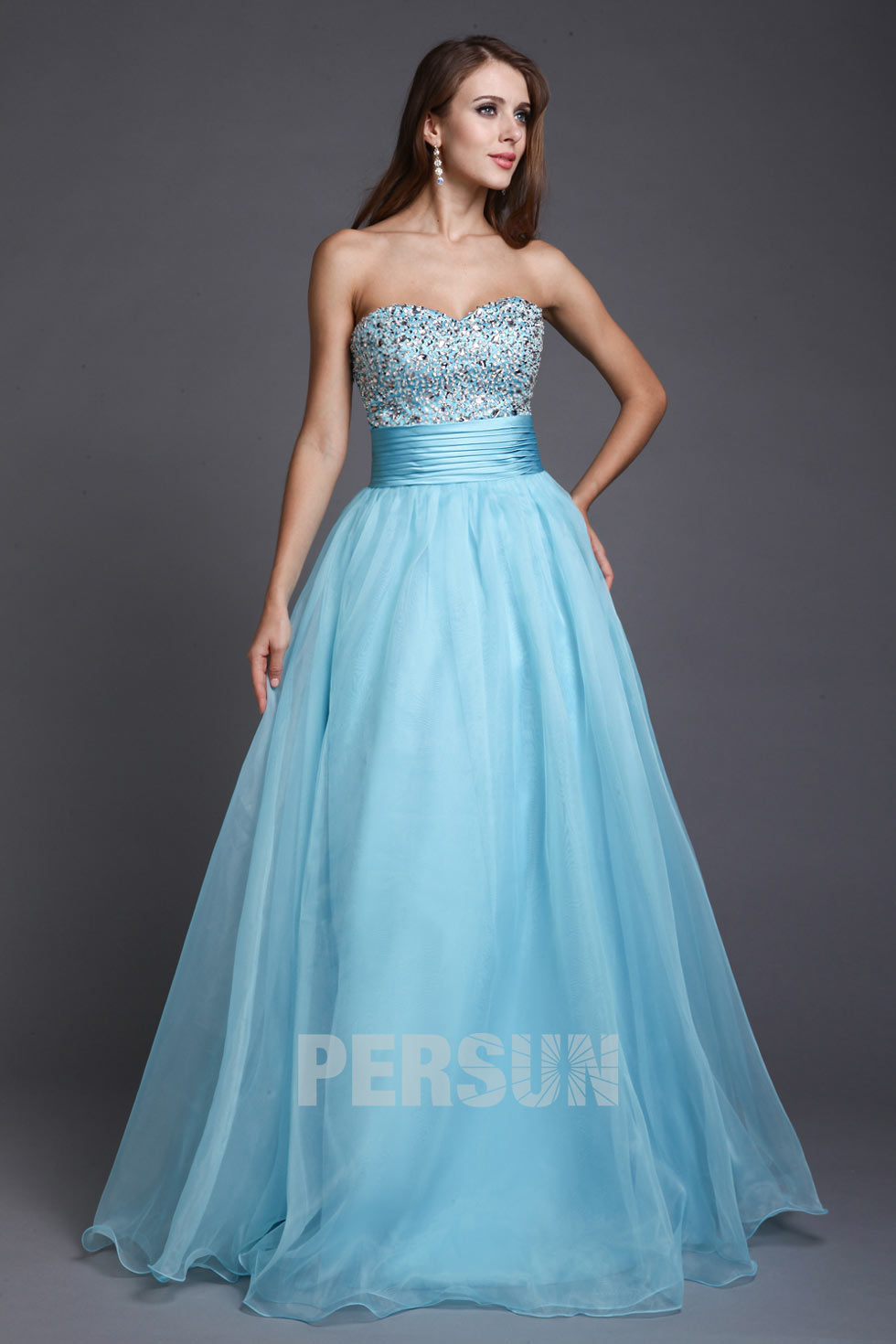 robe princesse ciel blue bustier coeur sequins