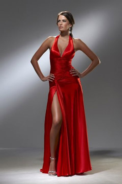 Heathfield Sexy Low V neck Halter High Split Red Evening Dress