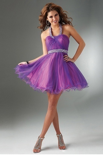 Paignton Organza Halter Open Back Short Cocktail Dress in Purple