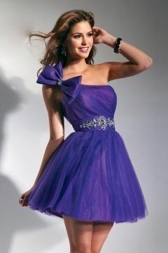 One Shoulder Bowknot Tulle Short Purple Cocktail Gown under 100