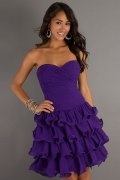 Perth Strapless Ruffles Short Purple Cocktail Dress