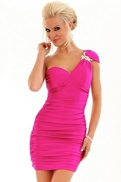 Peterlee Fuchsia One Shoulder Crystal Cocktail Dress