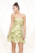 Bow Bubble Strapless A line Satin Short Prom / Cocktail Dress