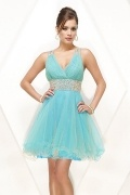 Beaded Open Back V neck A line Organza Short Prom / Cocktail Dress