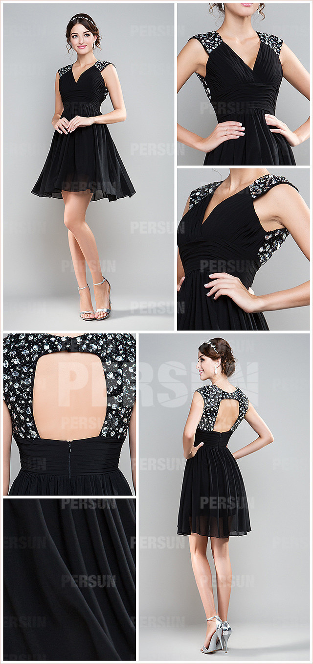Black Sequin Ruching V neck Taffeta A line Cocktail Dress