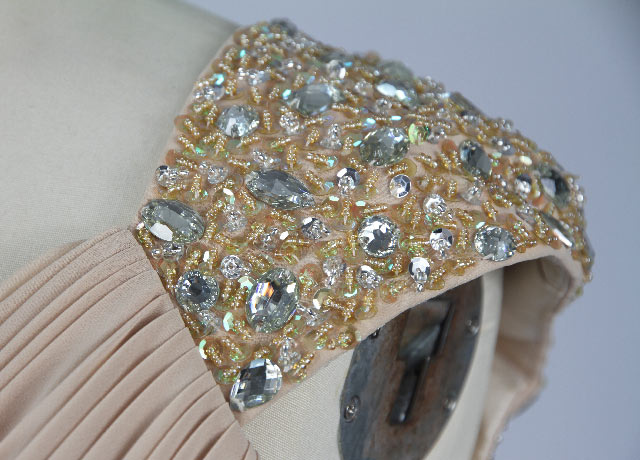 Sequin Ruching V neck Taffeta A line Cocktail Dress Shoulder