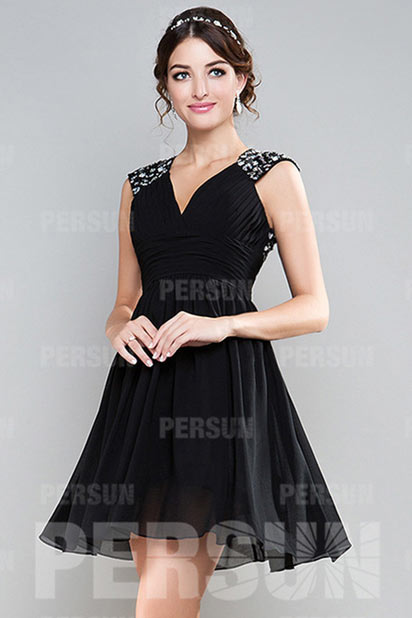 Dressesmall Sequin Ruching V neck Chiffon A line Black Cocktail Dress