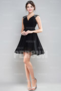 Sequin Ruching V Neck Chiffon A Line Black Cocktail Dress