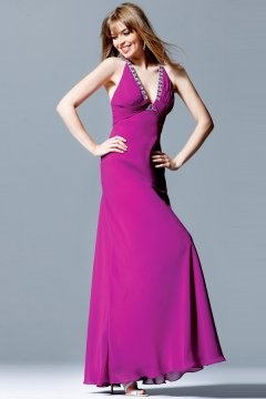 Beautiful V Neck Pleats Chiffon Long Purple Graduation Dress
