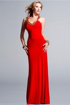 Sexy V Neck Open Back Chiffon Long Red Prom Dress UK