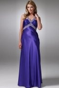 Beaded Pleated V neck A line Satin Empire Prom / Evening Dress