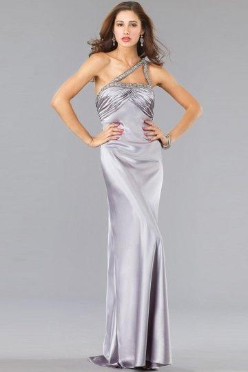 Neu Sexy Langes Ein Schulter gefaltetes Abendkleider aus Satin Persun