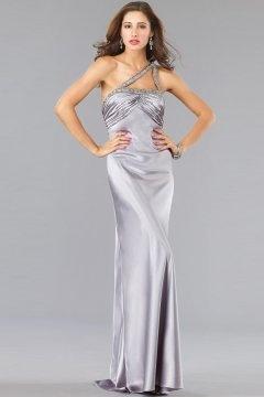 Modern One Shoulder Floor Length Satin Silver Graduation Dress