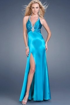 Gorgeous V neck Halter Front Split Blue Cheap Graduation Dress